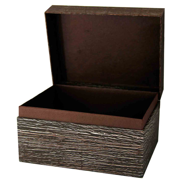 Image of EarthUrn Chest Biodegradable Urn for Ashes embossed brown colour