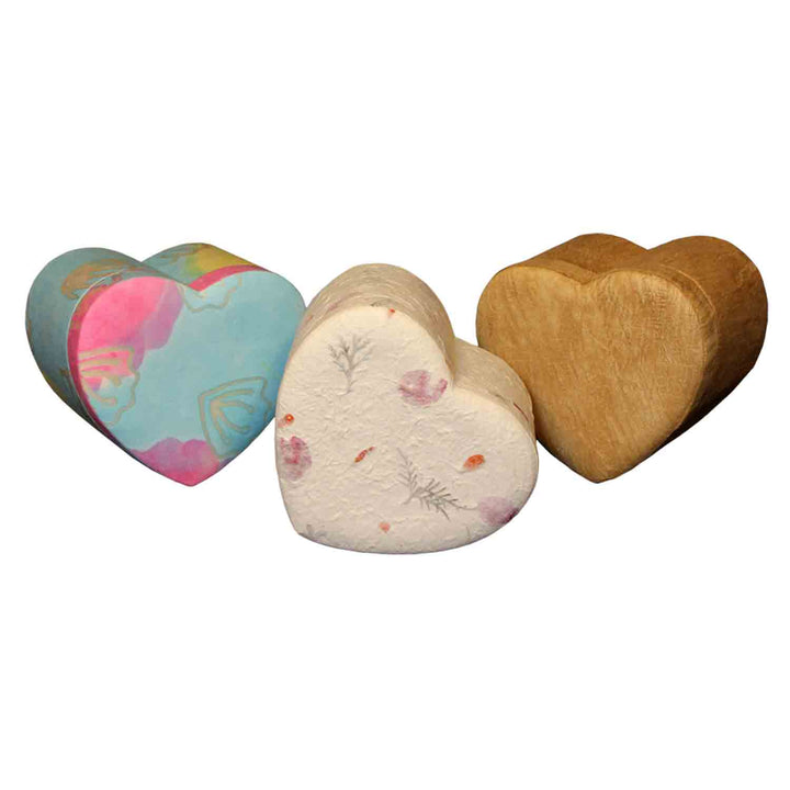 Image of Heart Shaped Biodegradable Urn in three different colour variations