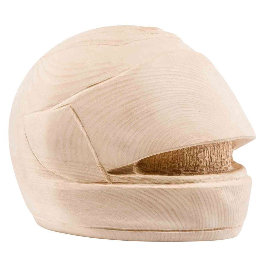 Unusual Wood Motorcycle Helment Cremation Urn