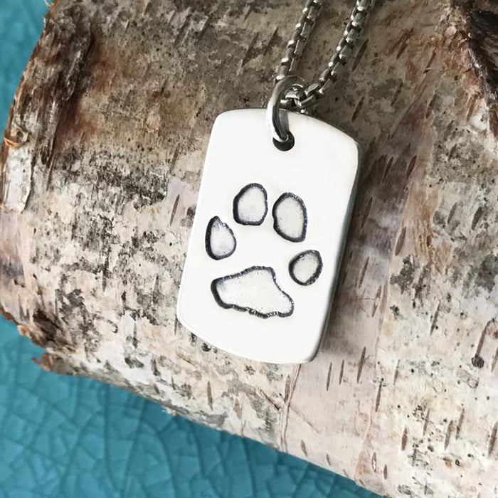 Paw Print Necklace with Silver Link Chain