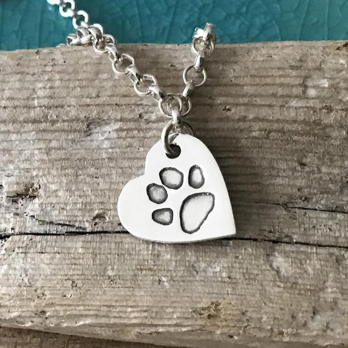 Paw Print Necklace with Fine Silver Link Chain