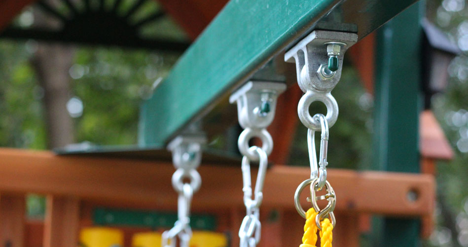 One example of the heavy duty hardware used are these bolt through iron swing hangers.