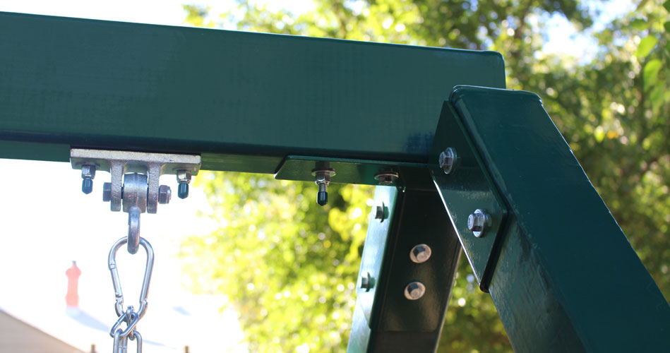 The swing beam is constructed from heavy duty materials to support swing belts, trapeze bars, bucket swings, and many more swing accessories.