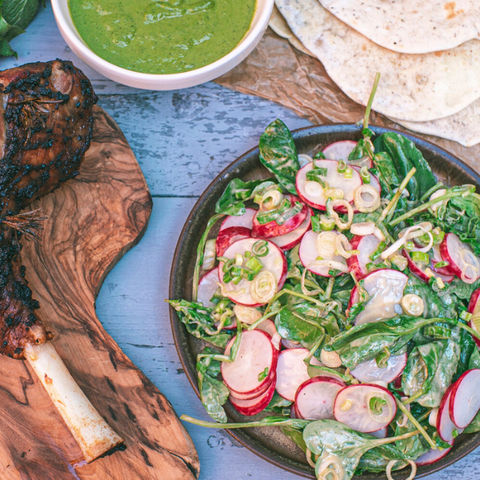 Slow cooked lamb with flatbreads and wild garlic salsa
