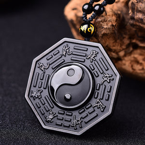 Obsidian Yin Yang Necklace - greenwitchcreations