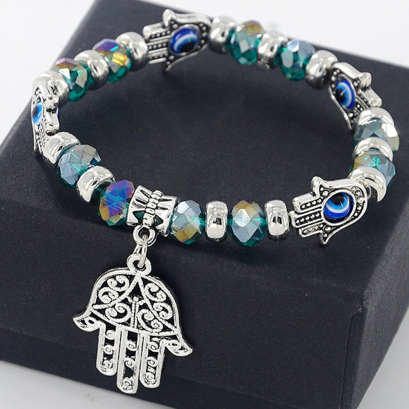 Hamsa Evil Eye Bracelets | Handmade Jewelry | Green Witch Creations - greenwitchcreations