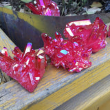 Red Aura Quartz Crystals | Green Witch Creations - greenwitchcreations