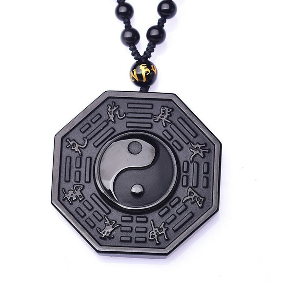 Obsidian Yin Yang Necklace | Jewelry | Witch Creations - greenwitchcreations