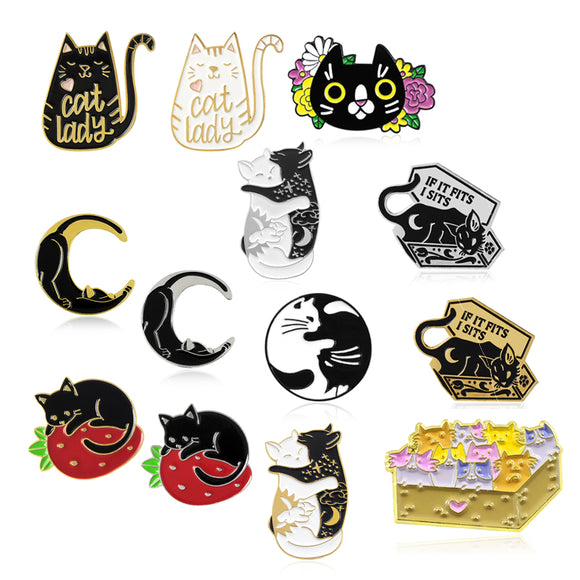 Cute Kitty Enamel Pins - greenwitchcreations