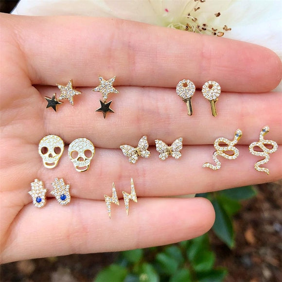 Gold Stud Earring Sets - greenwitchcreations