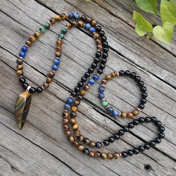Lapis Lazuli ,Tigers Eye, and Onyx Mala Prayer Necklaces | Green Witch Creations - greenwitchcreations