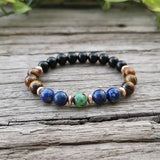 Tigers Eye & Lapis Lazuli Mala Prayer Necklaces - greenwitchcreations