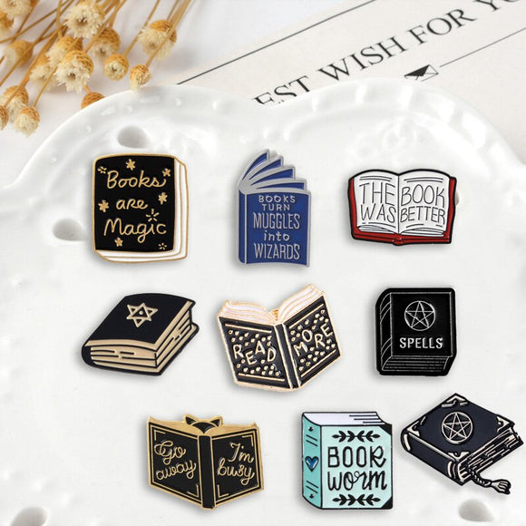 Magic Spellbook Wiccan Enamel Pins | Green Witch Creations - greenwitchcreations