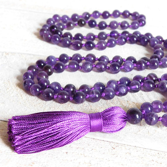 Amethyst Mala Prayer Necklace | Mala Prayer Beads - greenwitchcreations
