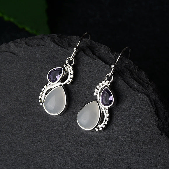 Amethyst & Moonstone Silver Earrings - greenwitchcreations