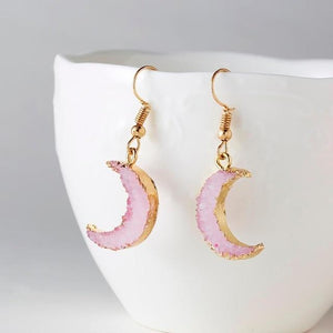 Moon Druzy Earrings | Green Witch Creations - greenwitchcreations