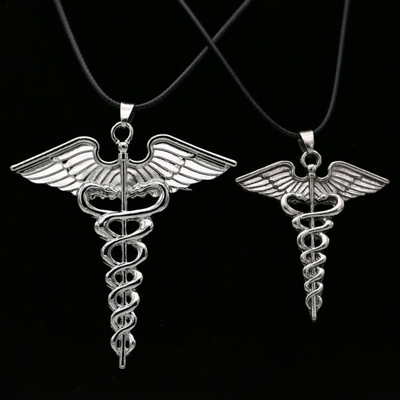 Snake Ouroboros Caduceus Necklace | Green Witch Creations - greenwitchcreations