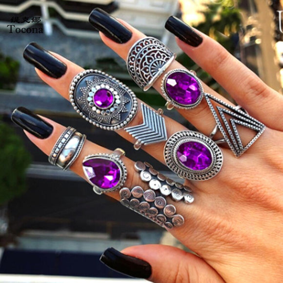 Purple Boho Hippie Ring Sets | Jewelry | Green Witch Creations - greenwitchcreations