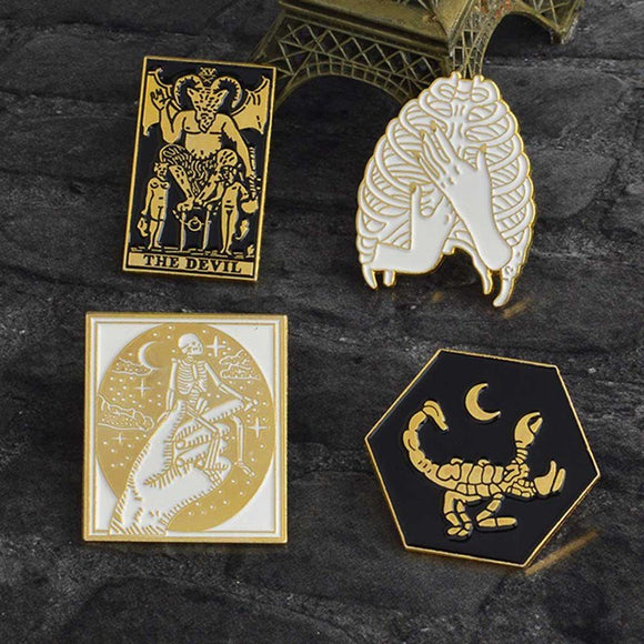 Tarot and Skeleton Pins - greenwitchcreations