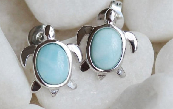Larimar Turtle Earrings | Green Witch Creations - greenwitchcreations
