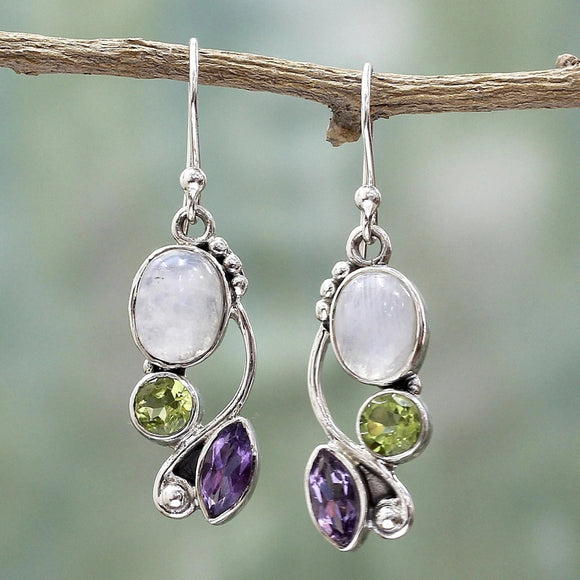 Moonstone, Peridot, Amethyst Silver Earrings | Jewelry | Green Witch Creations