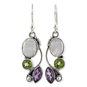 Moonstone, Peridot, Amethyst Silver Earrings - greenwitchcreations