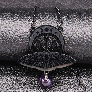 Triple Moon Goddess Moth Necklaces - greenwitchcreations