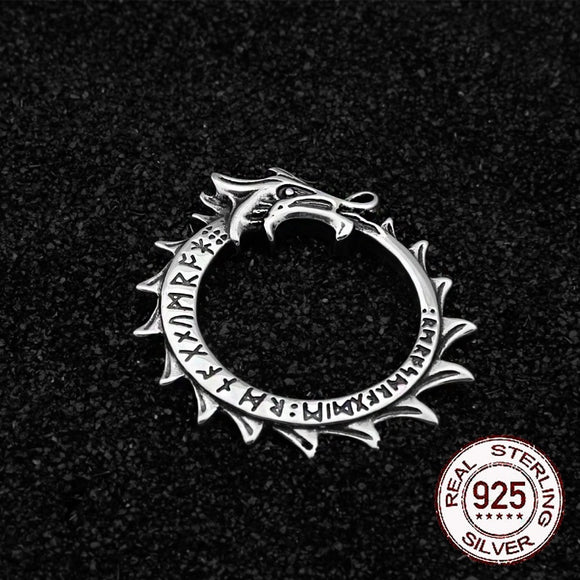 925 Silver Viking Rune Ouroboros Pendant | Green Witch Creations