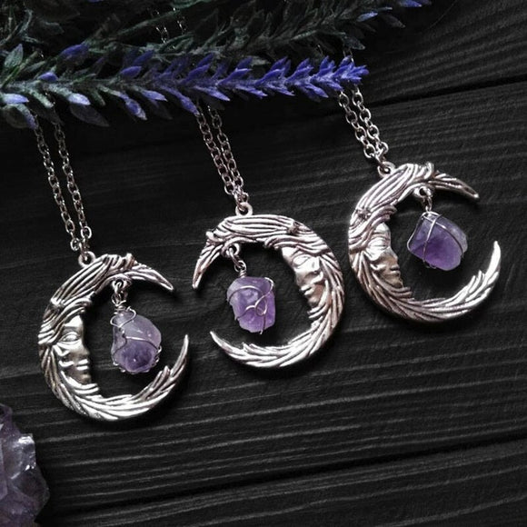 Amethyst Moon Necklace | Crystal Jewelry - greenwitchcreations