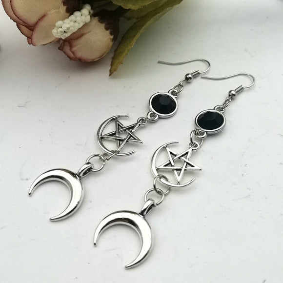 Pentacle Moon Earrings - greenwitchcreations
