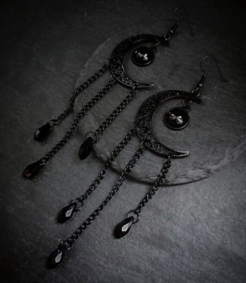 Black Moon Earrings | Wiccan & Gothic Jewelry - greenwitchcreations