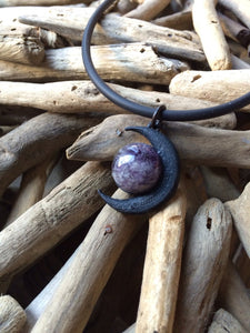 Amethyst Crescent Moon Necklace - greenwitchcreations