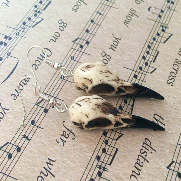 Raven Skull Earrings | Wiccan & Gothic Jewelry - greenwitchcreations