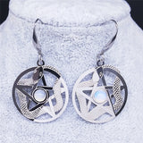 Moonstone Snake Pentacle Earrings - greenwitchcreations