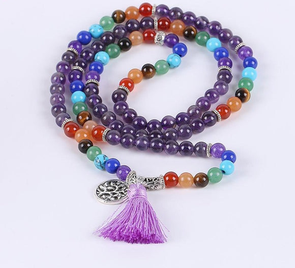 Amethyst Chakra Mala Prayer Necklaces | Mala Prayer Beads | Green Witch Creations - greenwitchcreations
