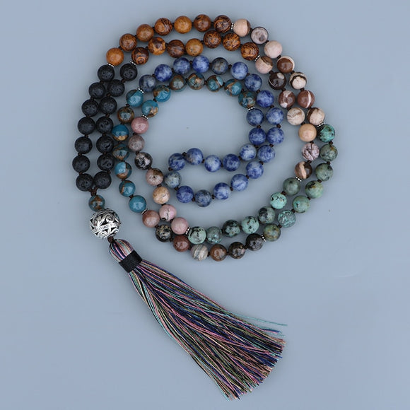 Multiple Colored Stone Mala Prayer Necklaces | Green Witch Creations - greenwitchcreations
