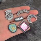Crystal Ball Moon Stone Wiccan Pins | Green Witch Creations - greenwitchcreations