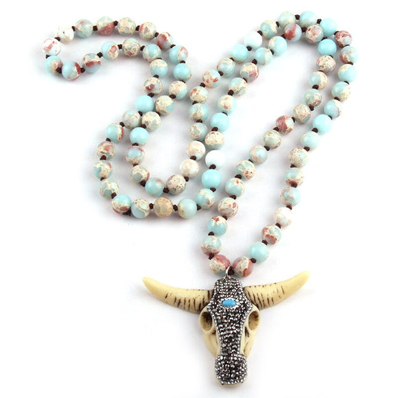 Agate Aqua Mala Prayer Necklace | Prayer Beads | Green Witch Creations - greenwitchcreations
