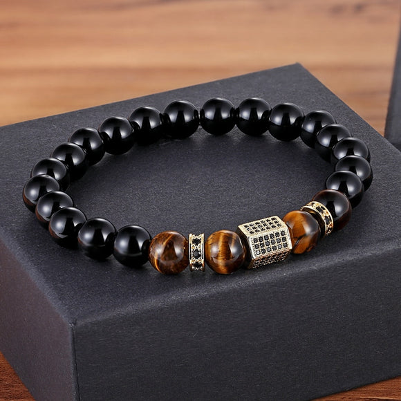 Mens Tigers Eye & Onyx Stone Charm Bracelets | Green Witch Creations - greenwitchcreations