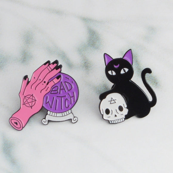 Bad Witch Kitty Crystal Ball Pins | Enamel Pins - greenwitchcreations