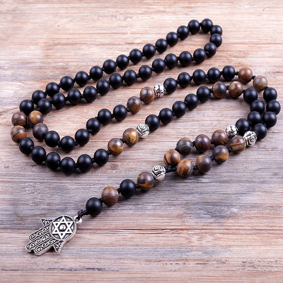 Tigers Eye and Black Onyx Hamsa Mala Prayer Necklace | Green Witch Creations - greenwitchcreations