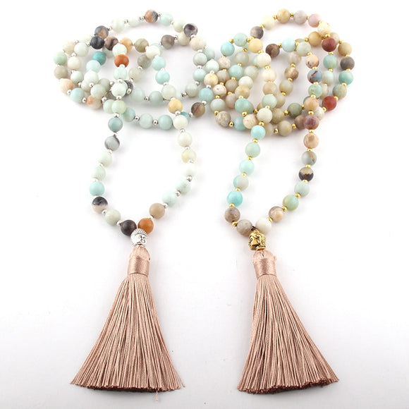 Amazonite Mala Prayer Necklaces | Prayer Beads - greenwitchcreations