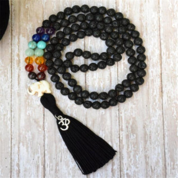 Lava Rock Chakra Mala Prayer Necklaces | Green Witch Creations - greenwitchcreations