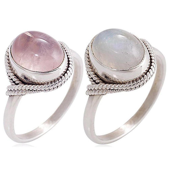 Rose Quartz and Moonstone Rings | Green Witch Creations - greenwitchcreations