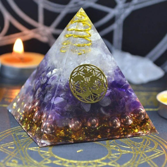 Amethyst Orgonite Pyramid - greenwitchcreations