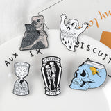 Ghost & Skeleton Enamel Pins | Green Witch Creations - greenwitchcreations