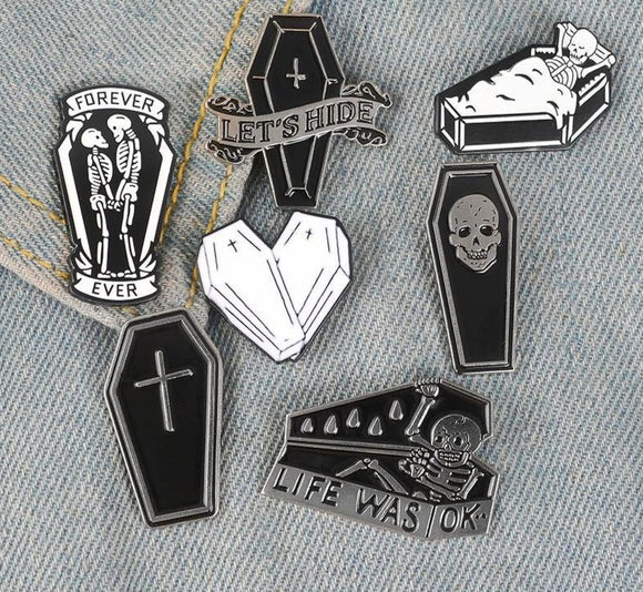 Coffin & Skeleton Enamel Pins - greenwitchcreations