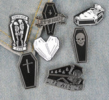 Coffin & Skeleton Enamel Pins | Green Witch Creations - greenwitchcreations