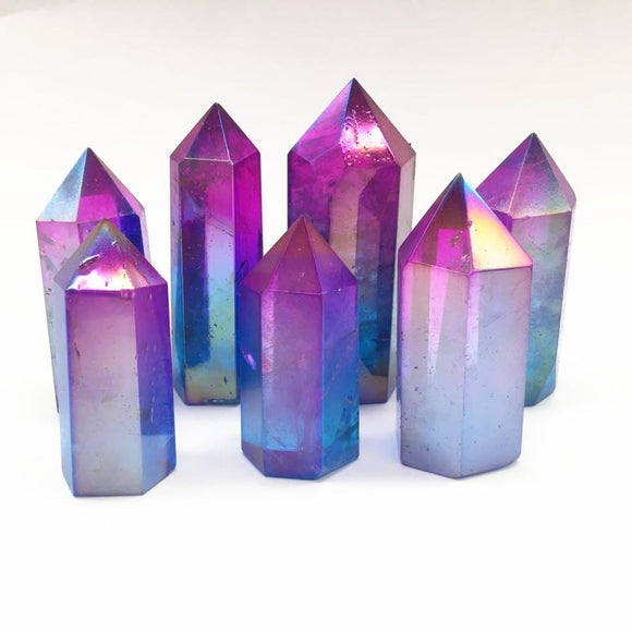 Crystal Rainbow Aura Angel Wand Points | Green Witch Creations - greenwitchcreations