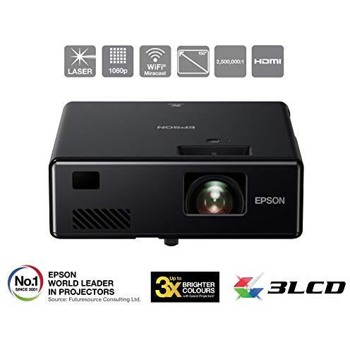 Epson EF-11 3LCD, Full HD 1080p, 1000 Lumens, 150 Inch Display, HDMI 1.4, Miracast, Gaming & Home Cinema Projector - Black
